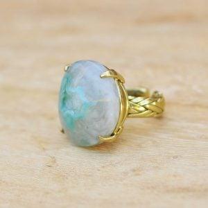 anillos boho chic con piedra de agata