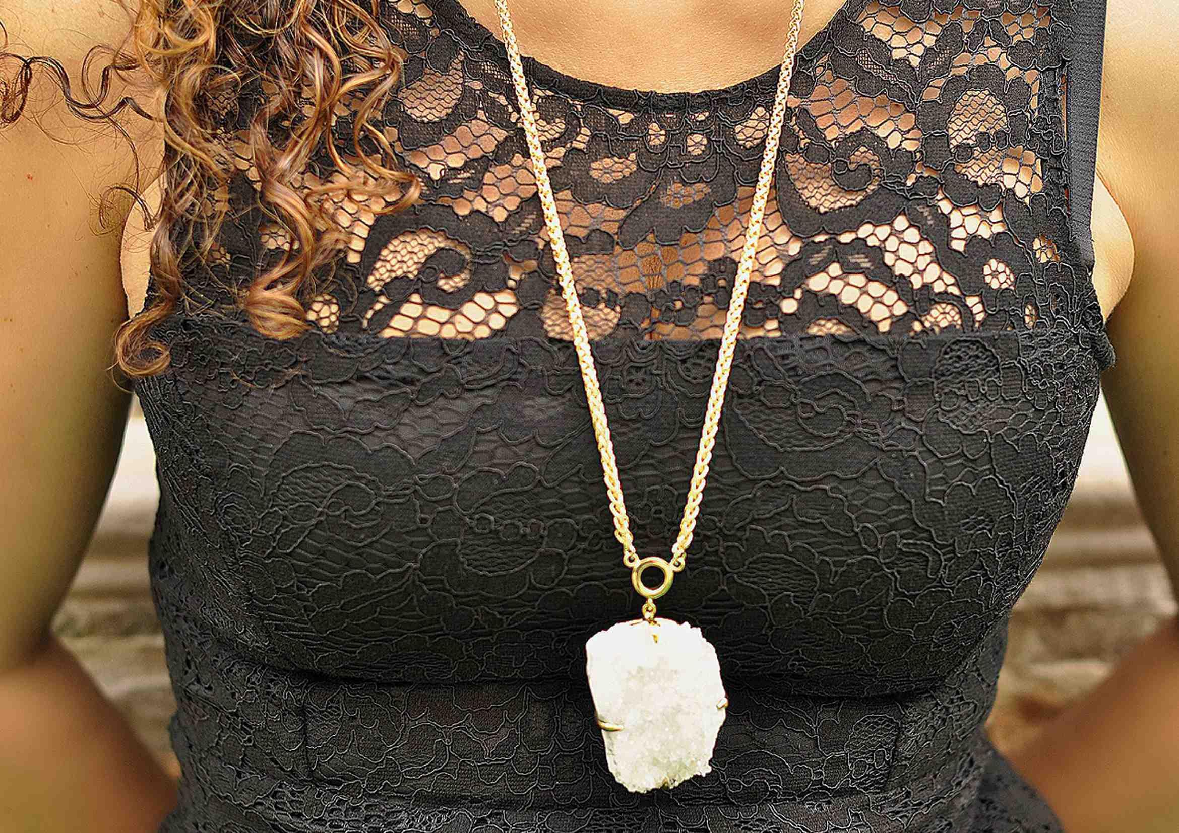 Collar boho Largo cuarzo blanco 1