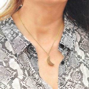 Collares personalizados colgante de drusa de agata media luna 1