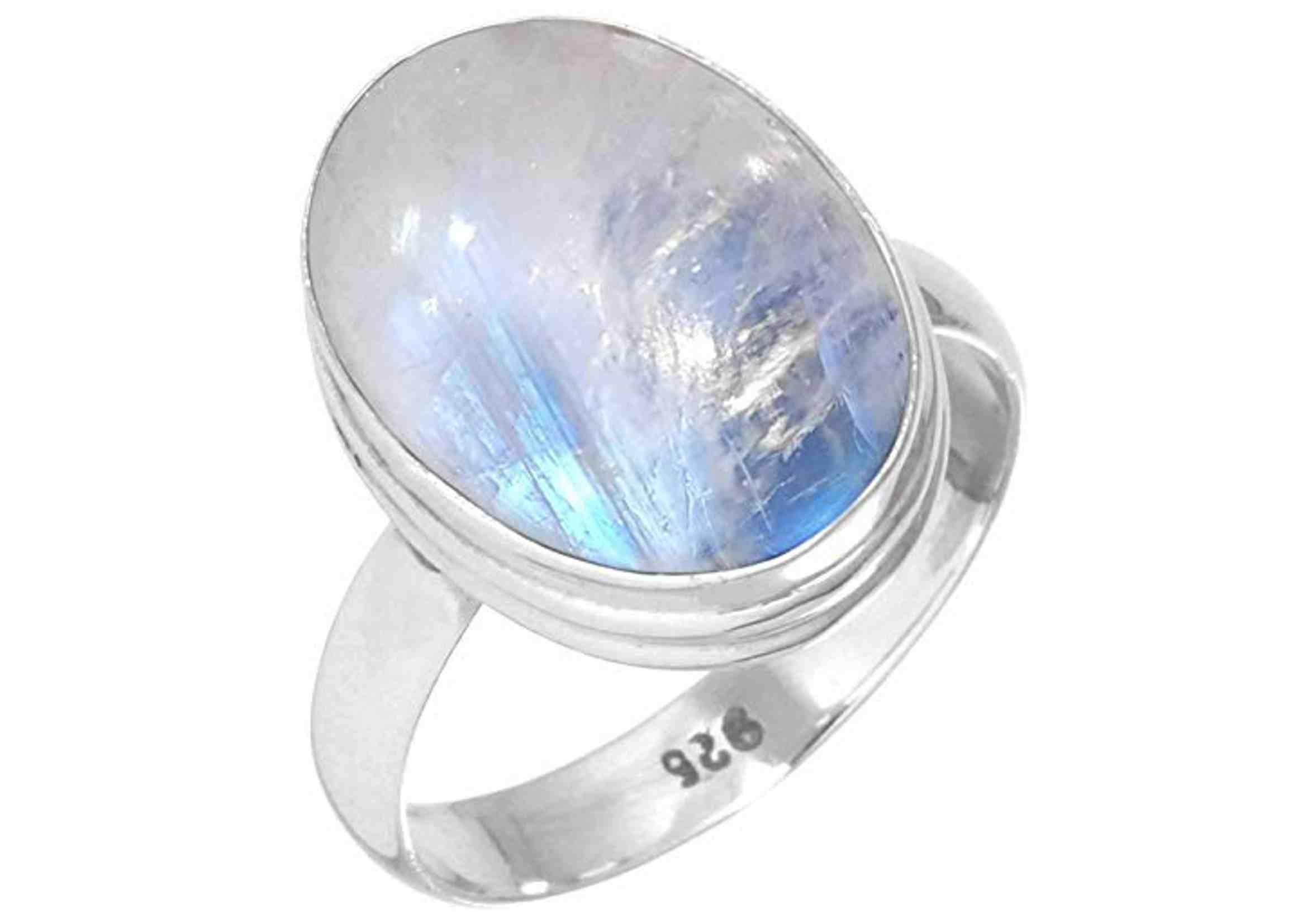 anillo de piedra de luna en plata de ley 925