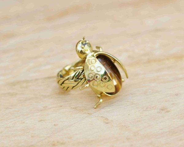 anillos de moda piedra natural ojo de tigre