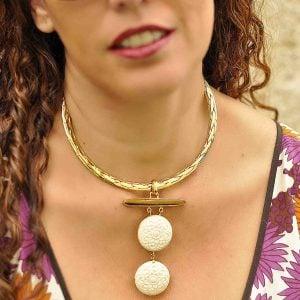 collar boho corto colgante de hueso natural