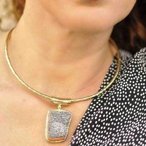 collar boho de pirita gargantilla de piedra natural