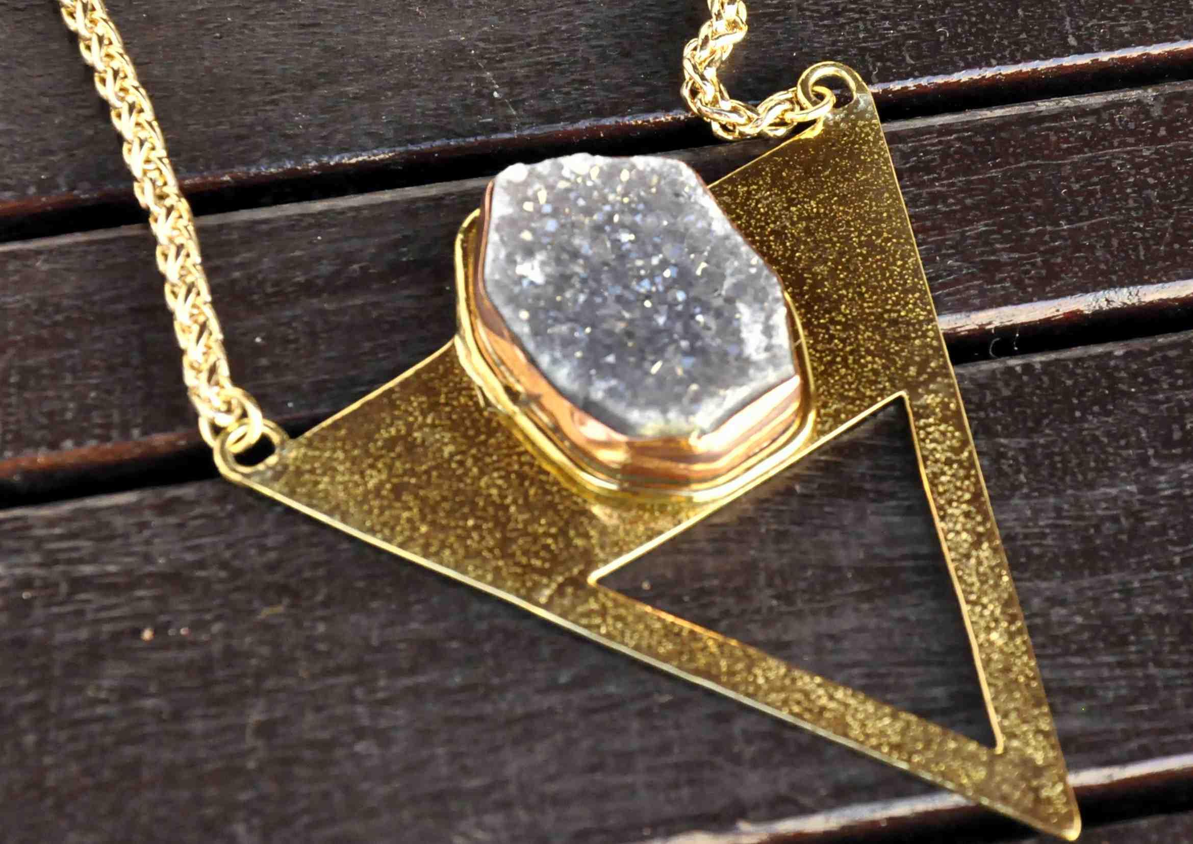 collar boho geoda de agata piedras naturales 1