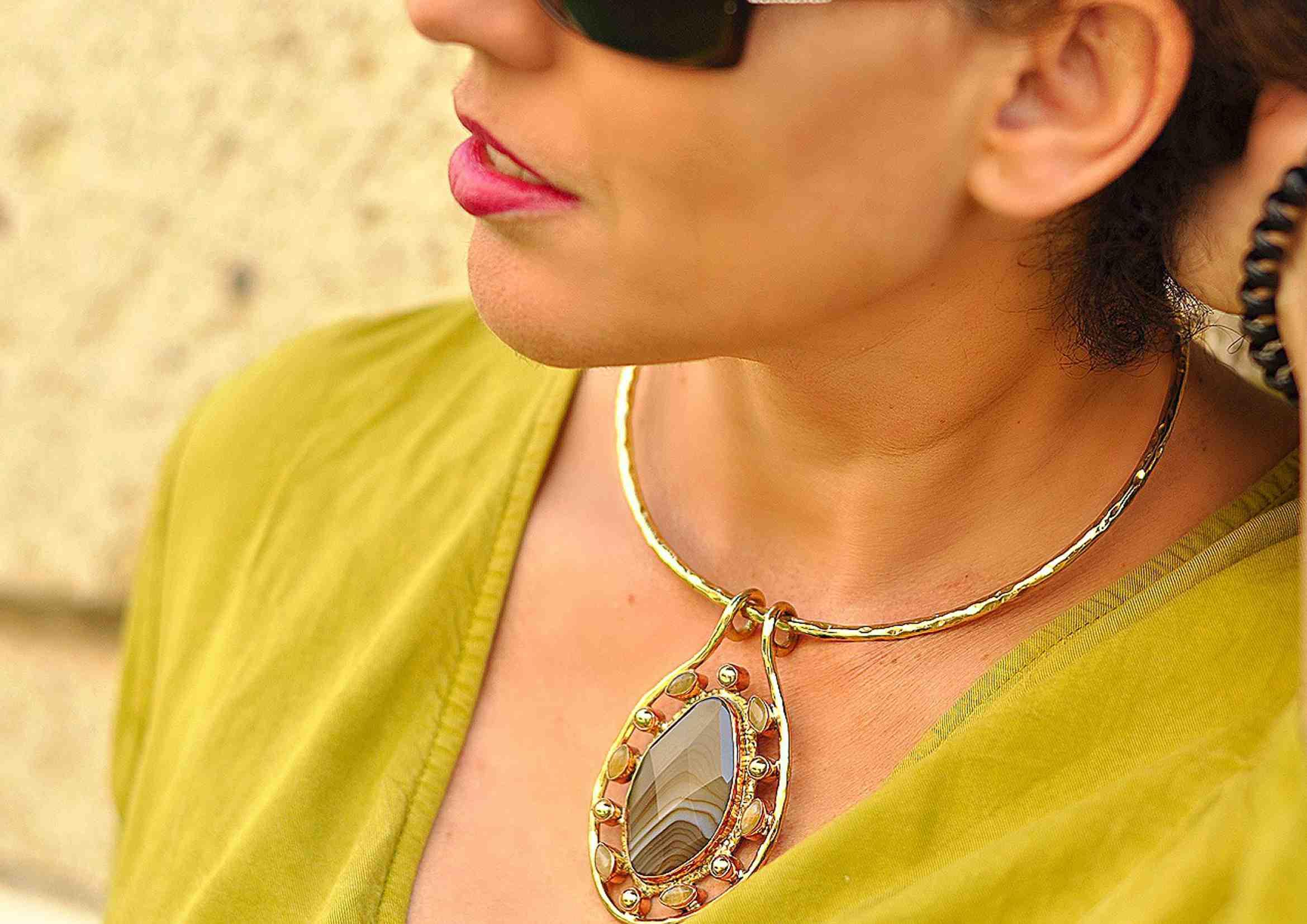 collar de moda en agata piedra natural 2