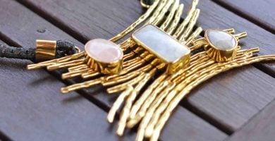 collar de moda en aventurina y cuarzo rosa piedras naturales