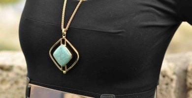 collar de moda largo de turquesa natural 3