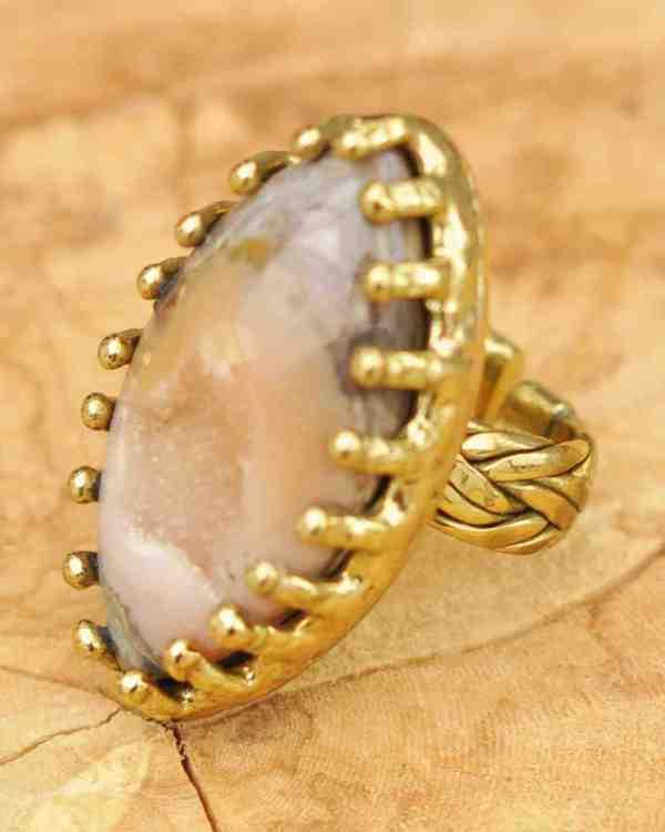 anillos boho con geoda de ágata