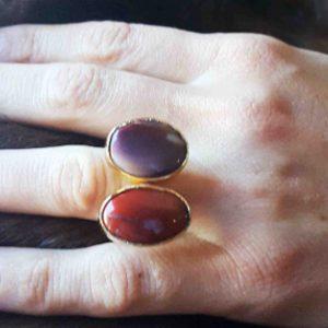 anillos boho de jaspe piedra natural