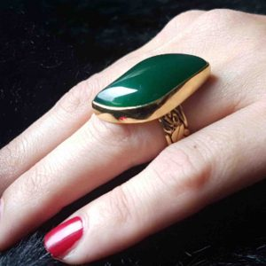 anillos boho de piedra natural jade