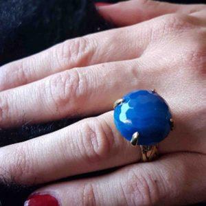 anillos de moda agata azul facetada 6