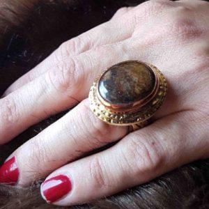 anillos de moda jaspe marron