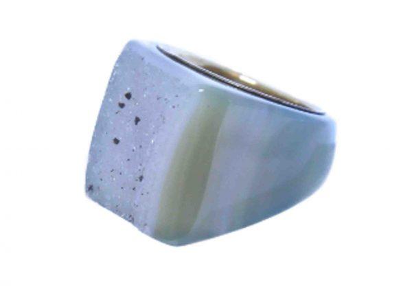 anillos grandes agata verde geoda 7