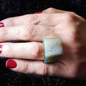anillos grandes agata verde geoda 8
