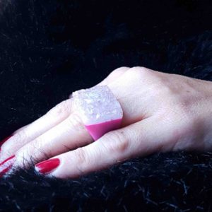 anillos grandes de agata rosa