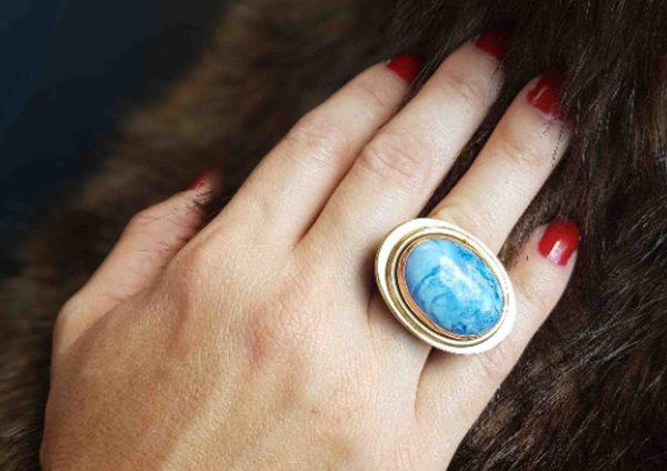 anillos grandes de sodalita en piedra natural 1